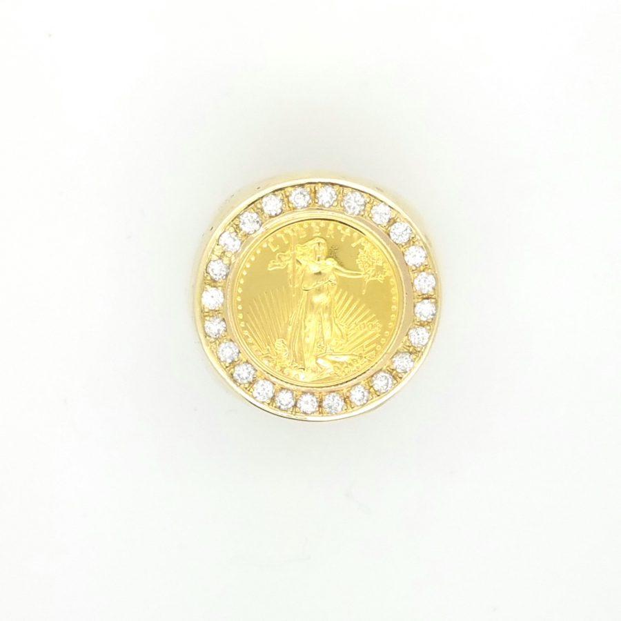 Men S Diamond Liberty Gold Coin Ring Ryu S Jewelry